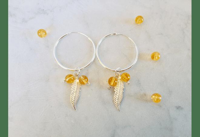 Argollas plumas de plata con piedras citrino