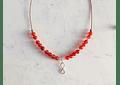 Collar de hilo regulable con piedras ágata cornalina e infinito de plata