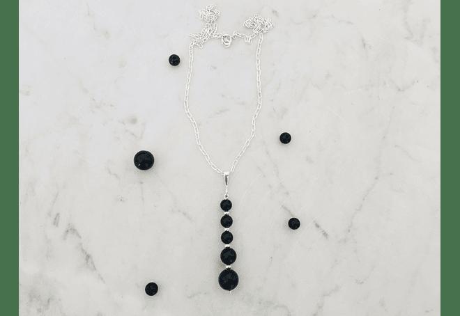 Conjunto de plata y piedras ónix