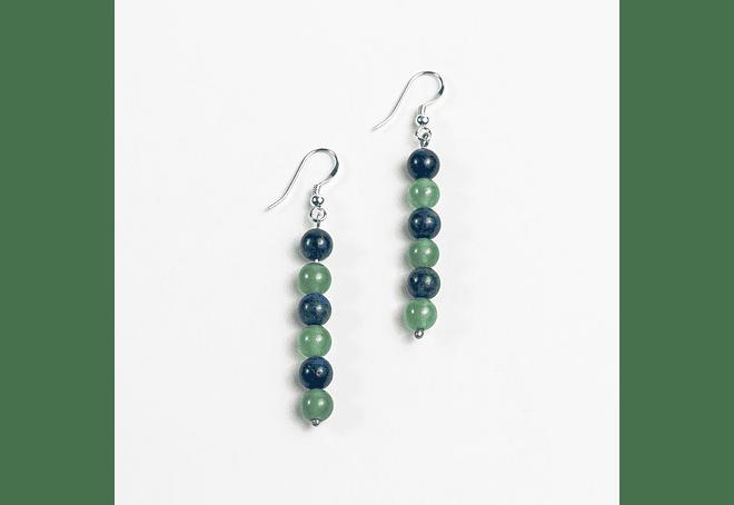 Aros de jade verde y azurita