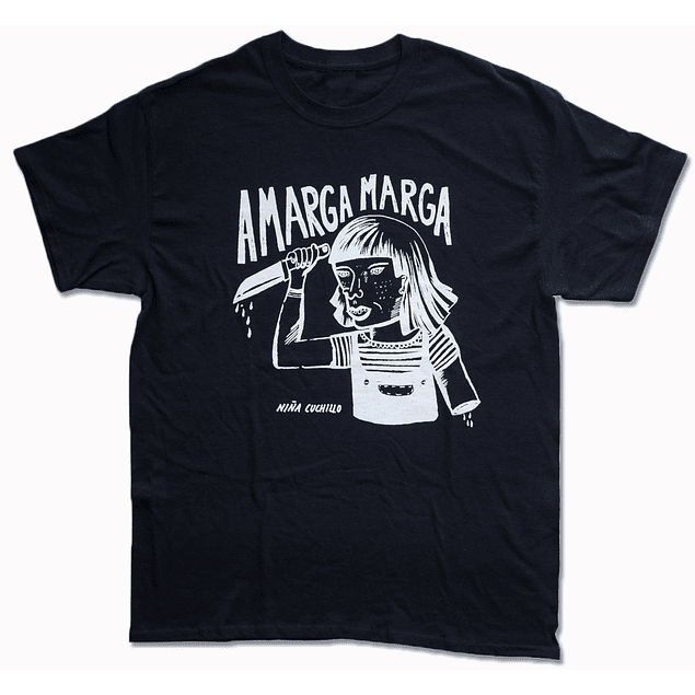 Polera Unisex Amarga Marga Niña Cuchillo Negra