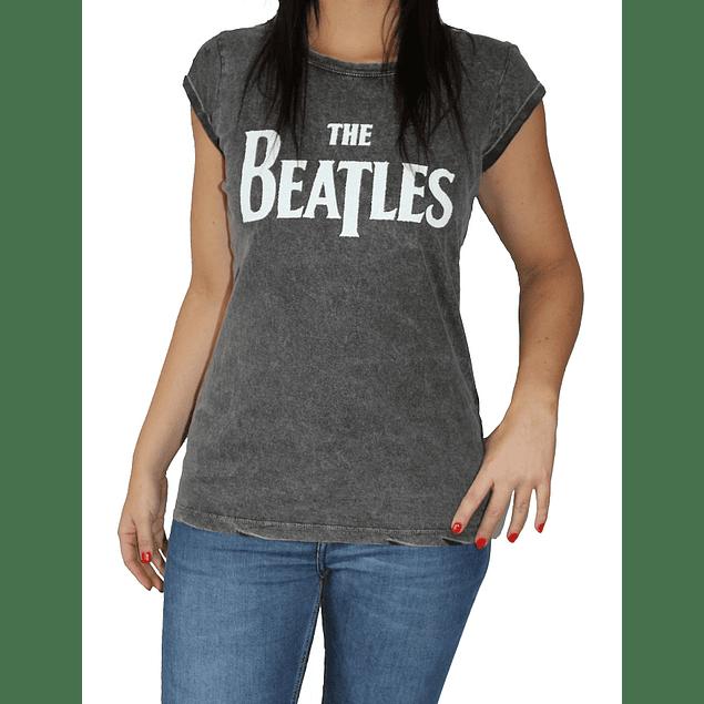 Polera Oficial Mujer The Beatles Caviar Blanco
