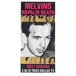 Afiche Melvins y Napalm Death, Dallas Texas