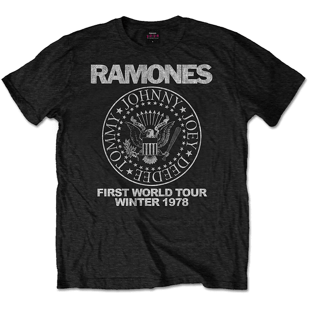 Polera Oficial Unisex Ramones First World Tour 78