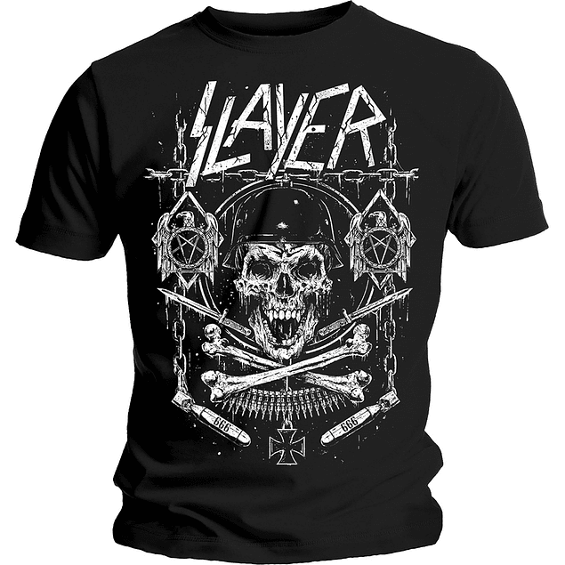 Polera Unisex Slayer Skull & Bones Revised