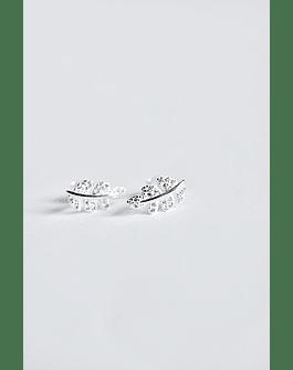Aros Hoja Micro Circón Plata