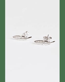 Aros Pluma Micro Circón Plata