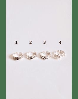 Midi Rings Piedra Plata Ajustable II