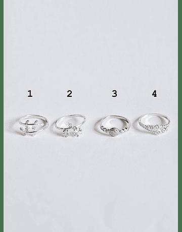 Midi Rings Micro Circón Plata