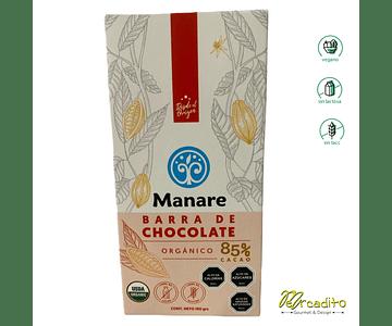 Chocolate 85% de Cacao -  Manare, Vegano, Sin Lactosa, Sin Gluten