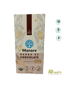 Chocolate 100% de Cacao - Manare, Vegano, Sin Lactosa, Sin Gluten