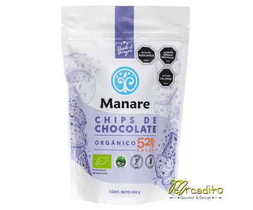 Chips de cacao 52% Orgánico 400 Grs