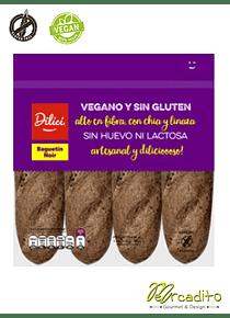 Baguetin Noir - Vegano, Sin Gluten, Sin Lactosa
