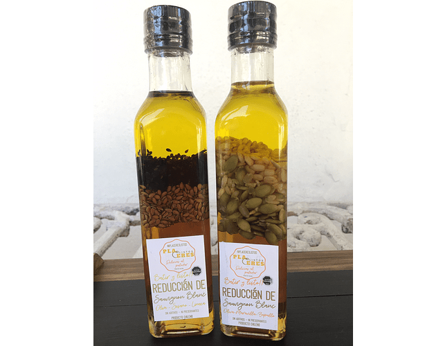 Reducción de Sauvignon Blanc, Aceite de Oliva, Maravilla y Zapallo - Listo para Aliñar