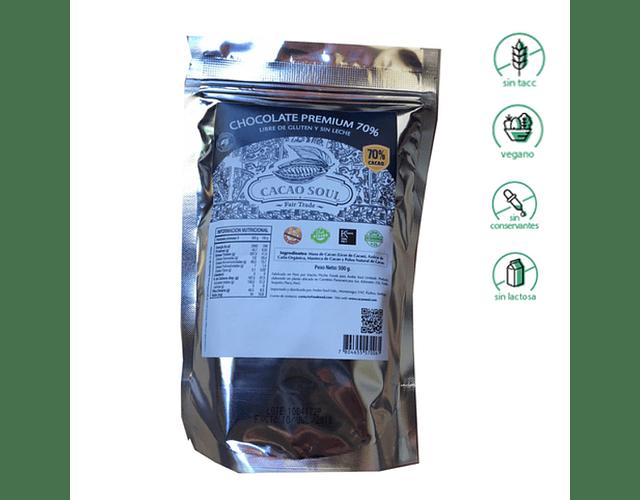 Cobertura de 70% de Cacao (500 grs) - Sin Gluten, Vegano