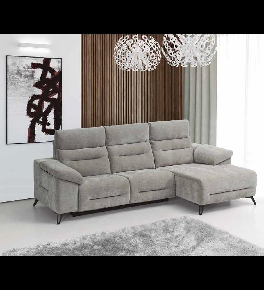 Sofá + Chaise Longue Deryl (con 2 mecanismos eléctricos relax)