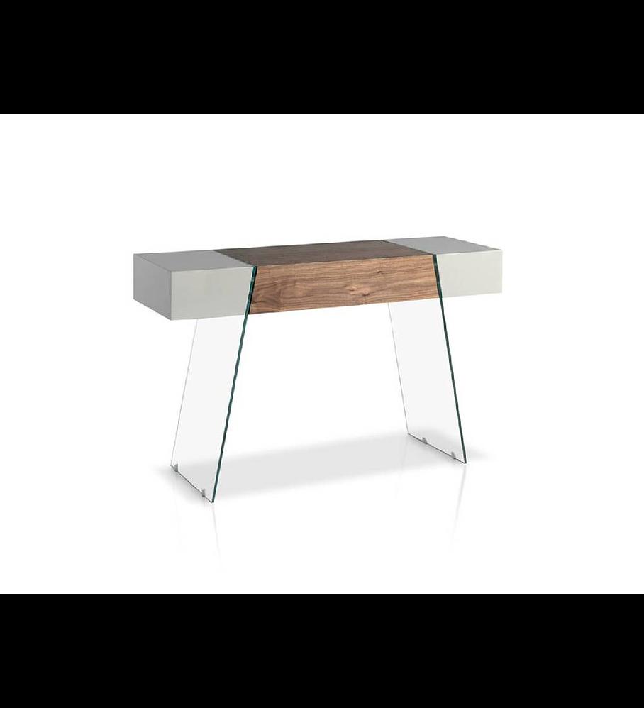 Consola de vidro, folheado de madeira e lacados