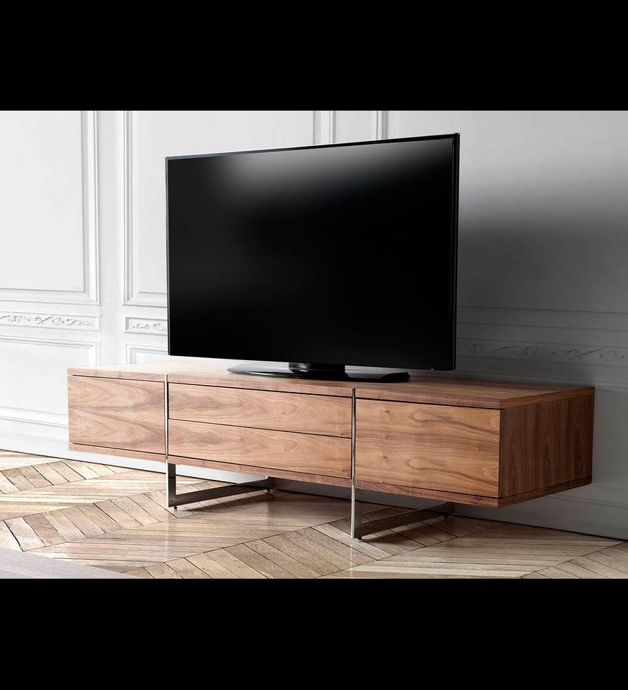 Móvel de TV folheado a madeira de Nogueira