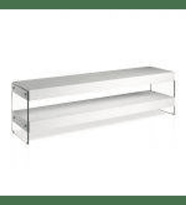 Mueble TV lacado con laterales de cristal