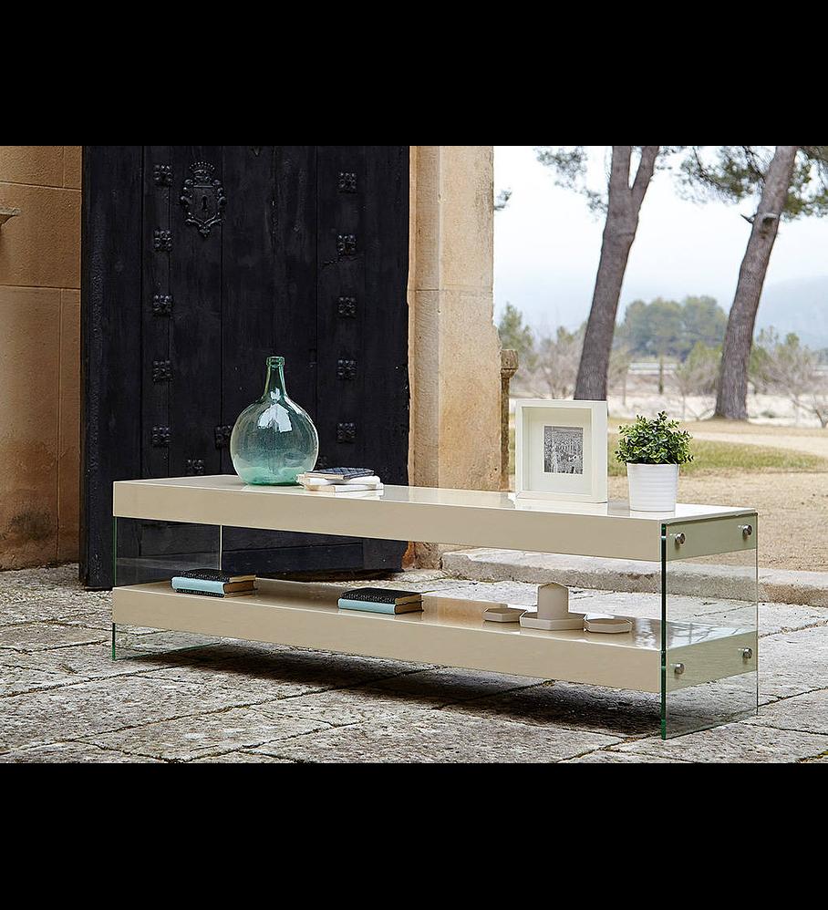 Móvel de TV lacado com laterais em vidro