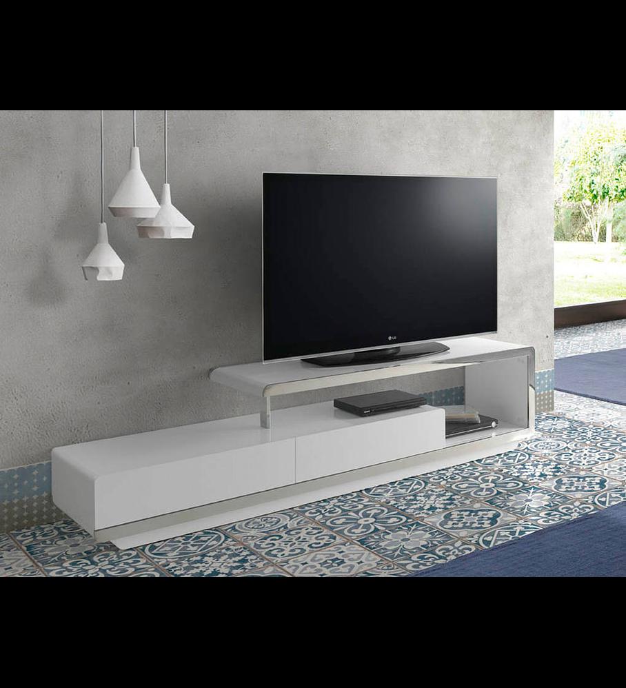 Mueble TV lacado y acero inoxidable