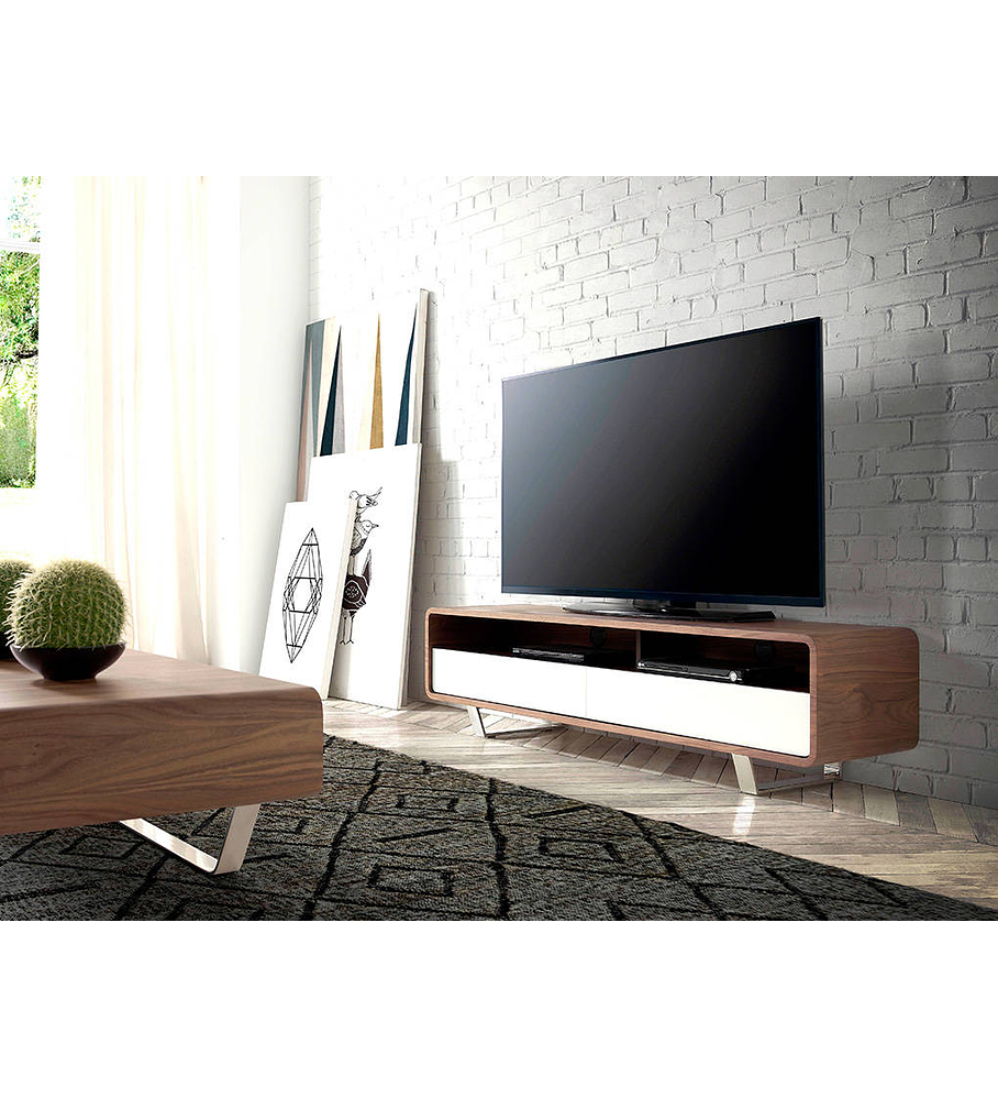 Móvel de TV folheado a madeira de Nogueira e partes lacadas