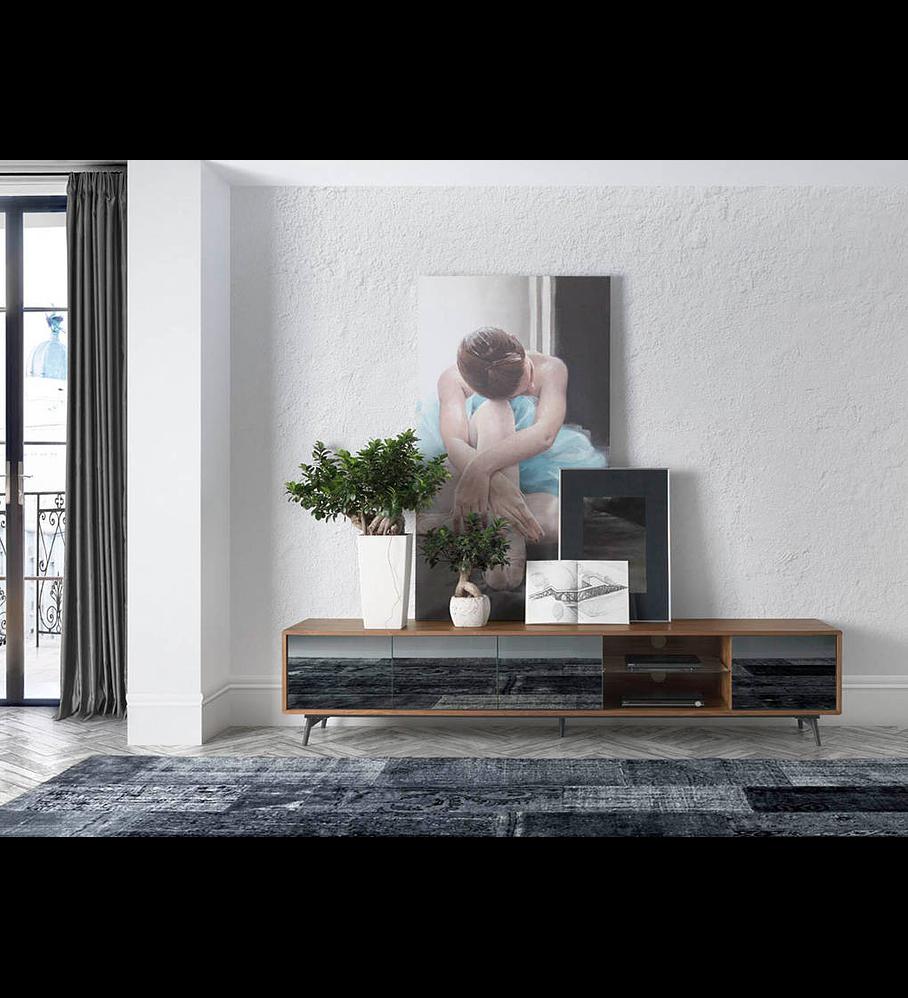 Móvel de TV folheado a madeira de Nogueira e frentes espelhadas