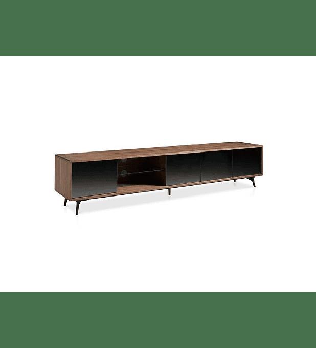 Mueble TV de chapa de nogal y frentes espejados