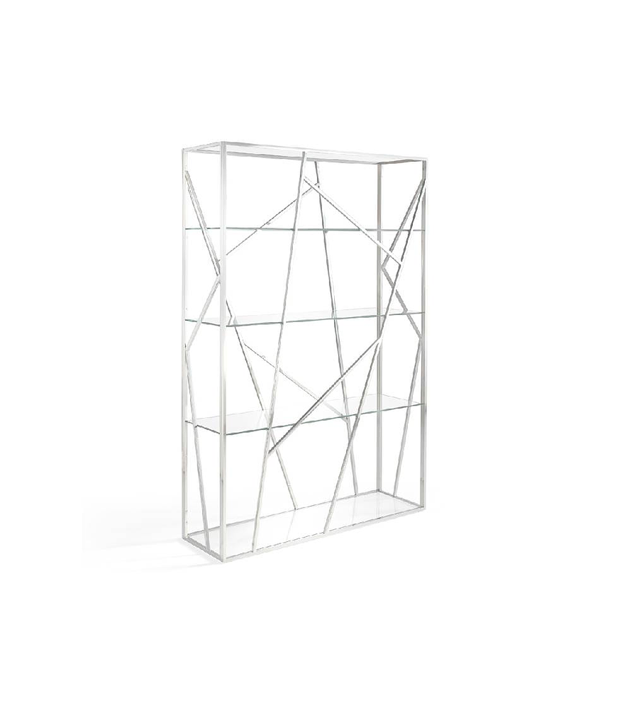 Estante de acero inoxidable y vidrio templado
