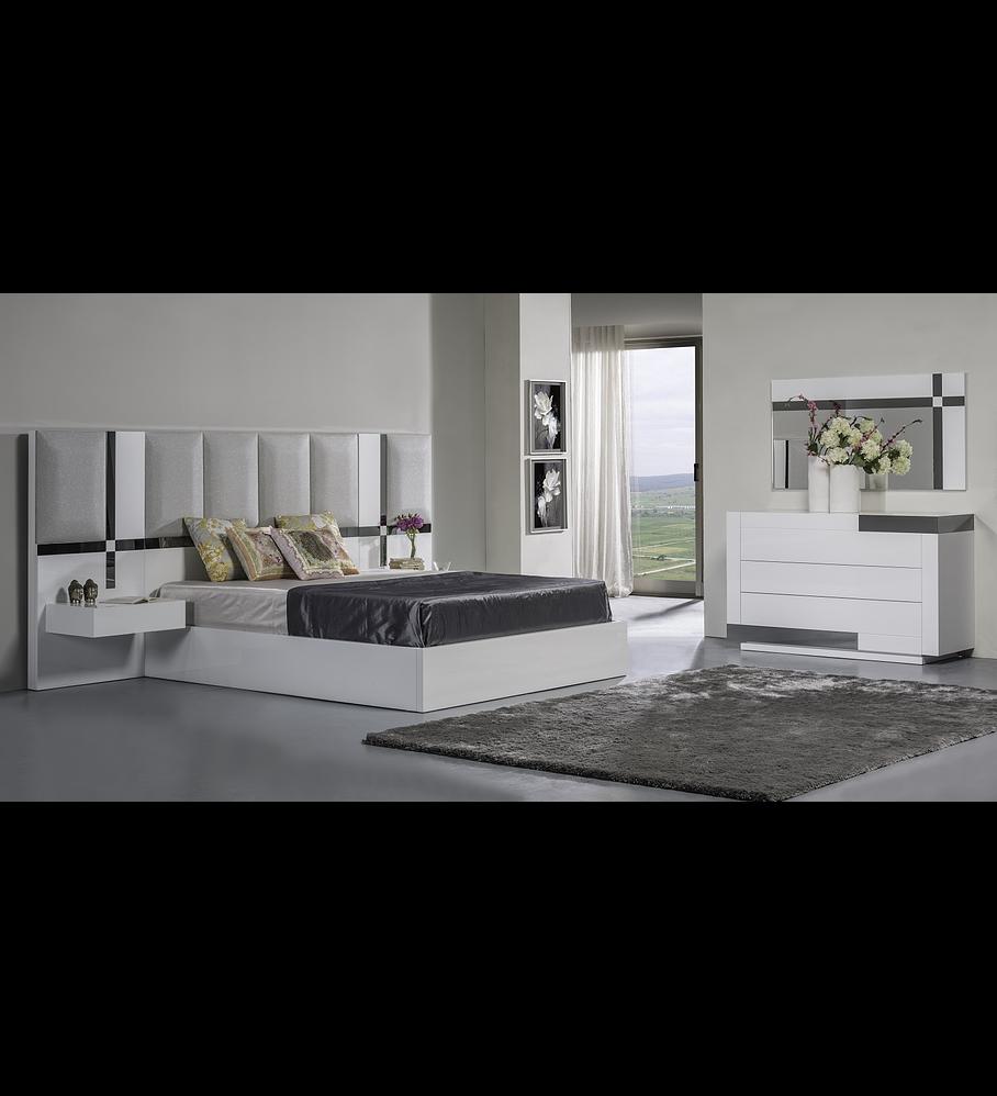 Habitación Bright White Art Collection con espejo gris