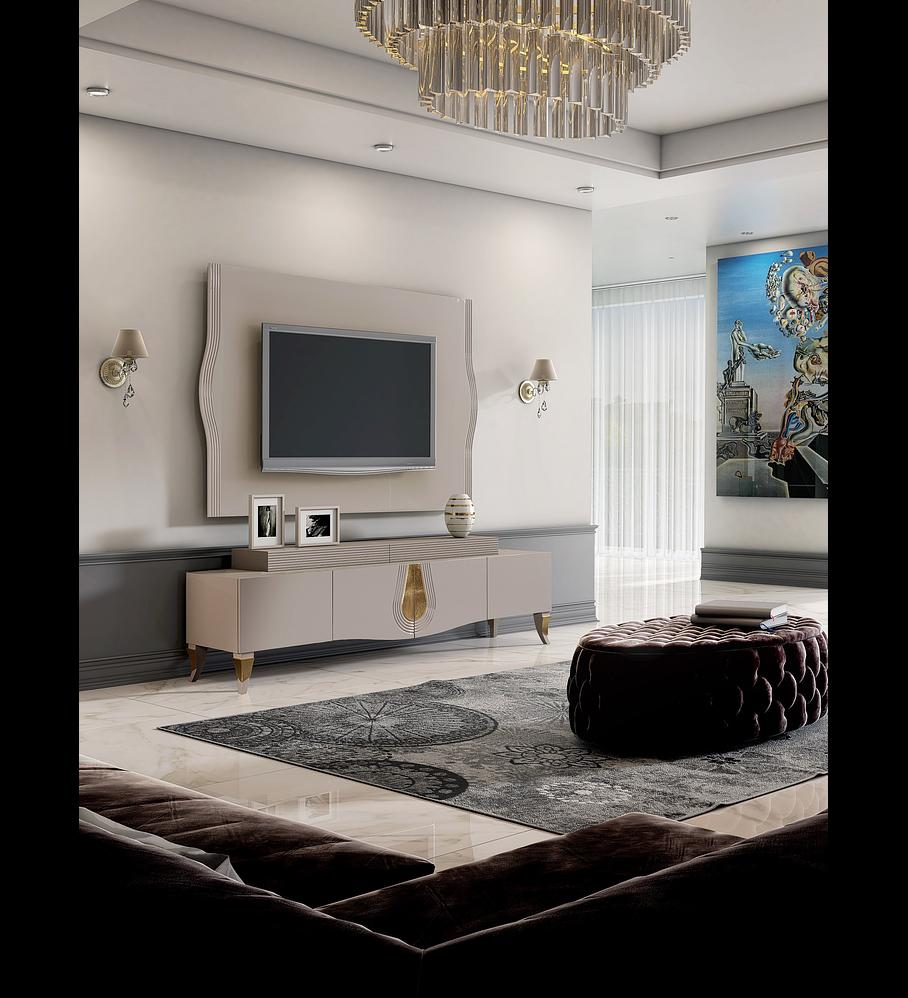 Sala de Estar Hanna Collection Vison S Brilho/Ouro