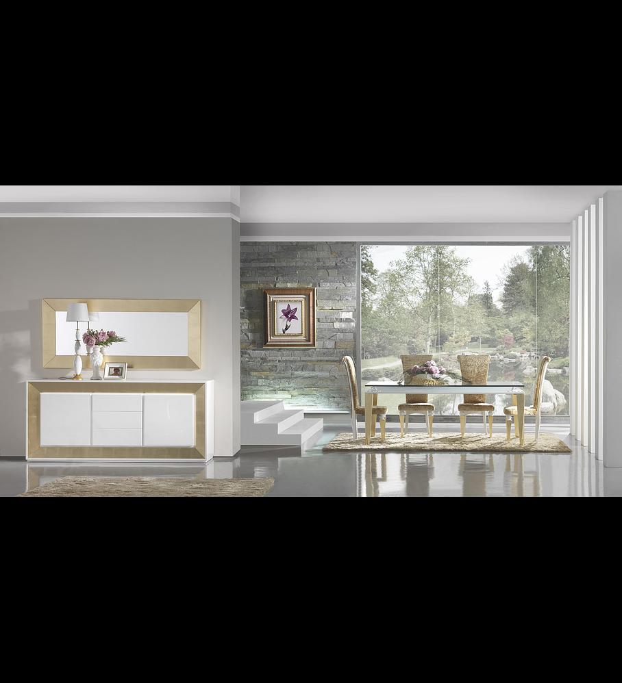 Sala de Jantar Branca Brilho/Ouro M192