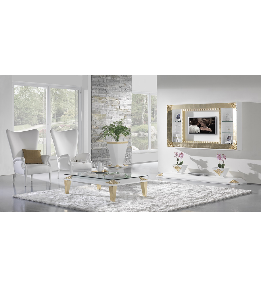 Sala de Estar Branca Mate/Ouro M195