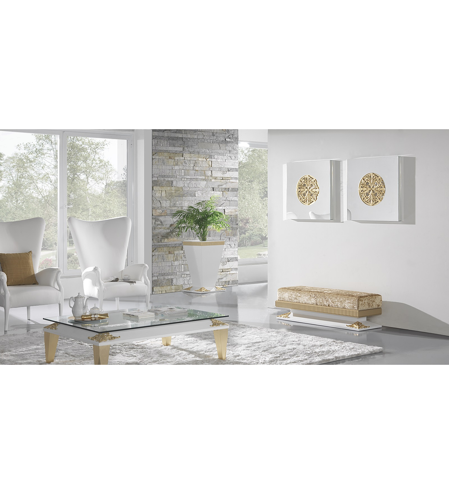 Sala de Estar Branca Mate/Ouro M196
