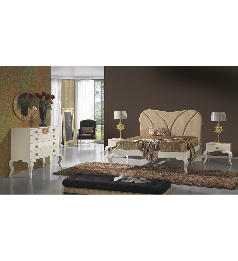Dormitorio Beige Brillo / Dorado M205