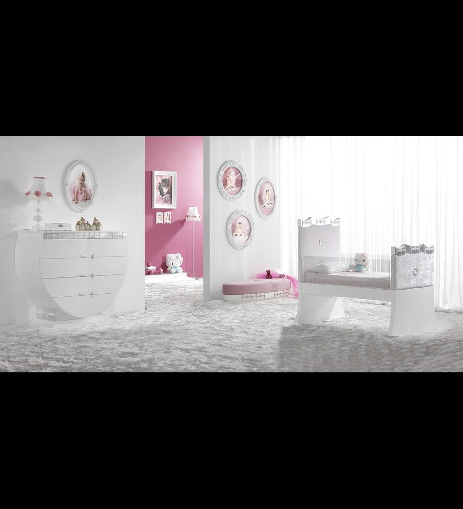 Habitación infantil blanca / rosa M209