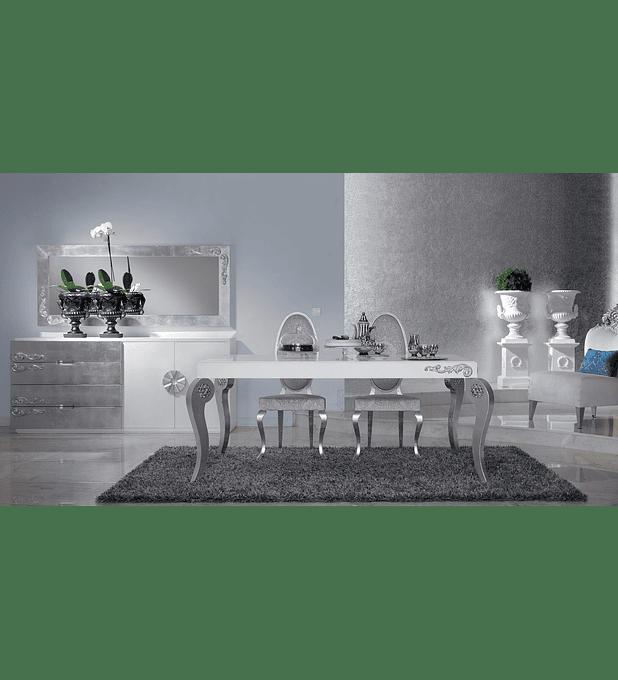 Salle à manger blanc / argent M166