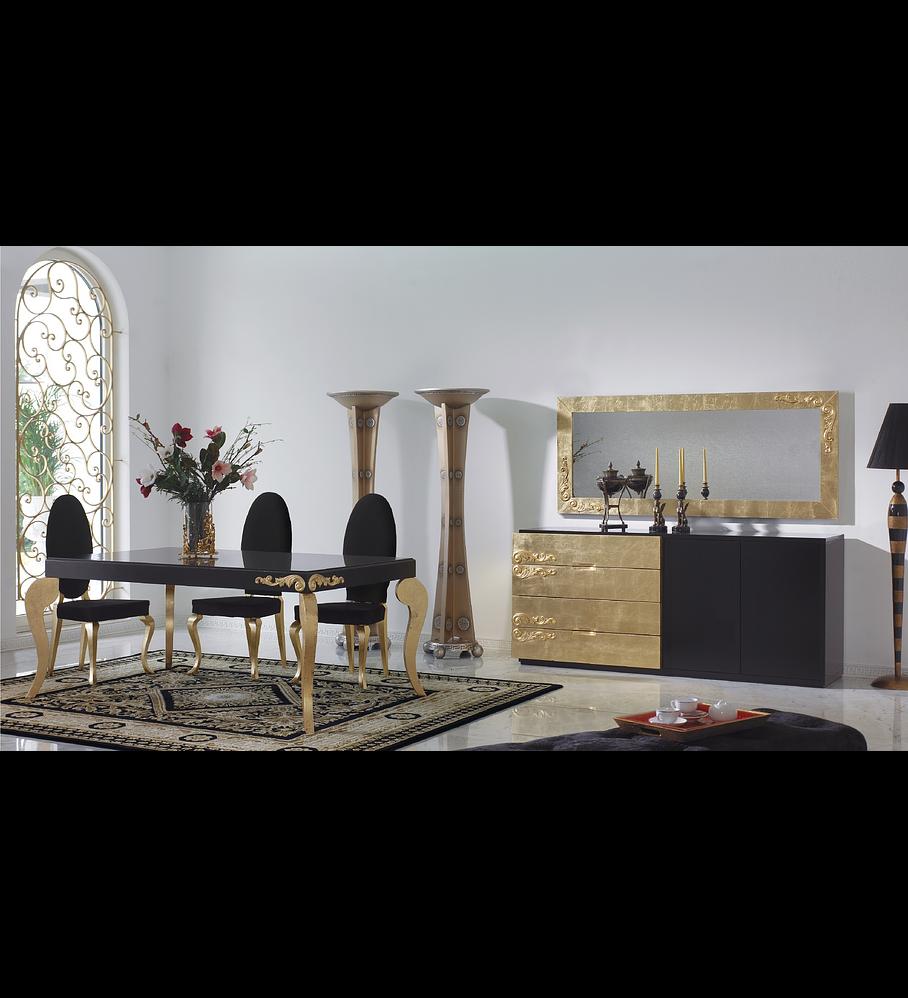Sala de Jantar Preta/Ouro M167