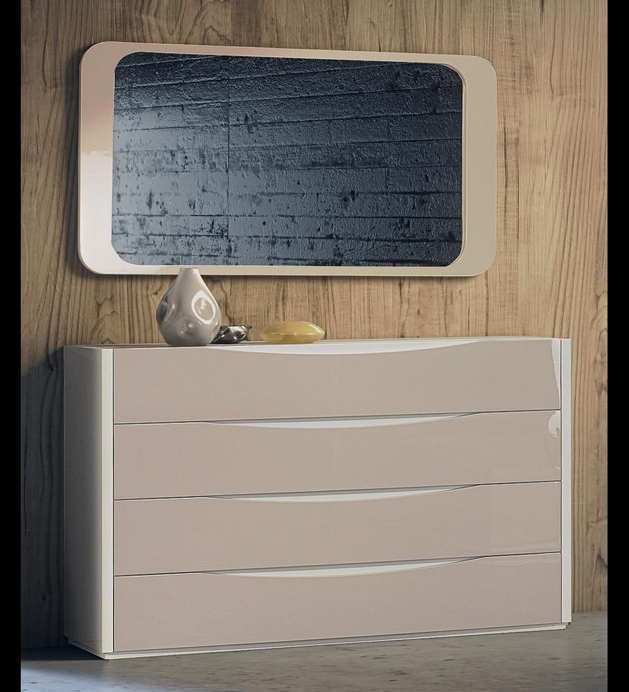 Cómoda Charles Collection Branco Brilho / Capuccino Brilho
