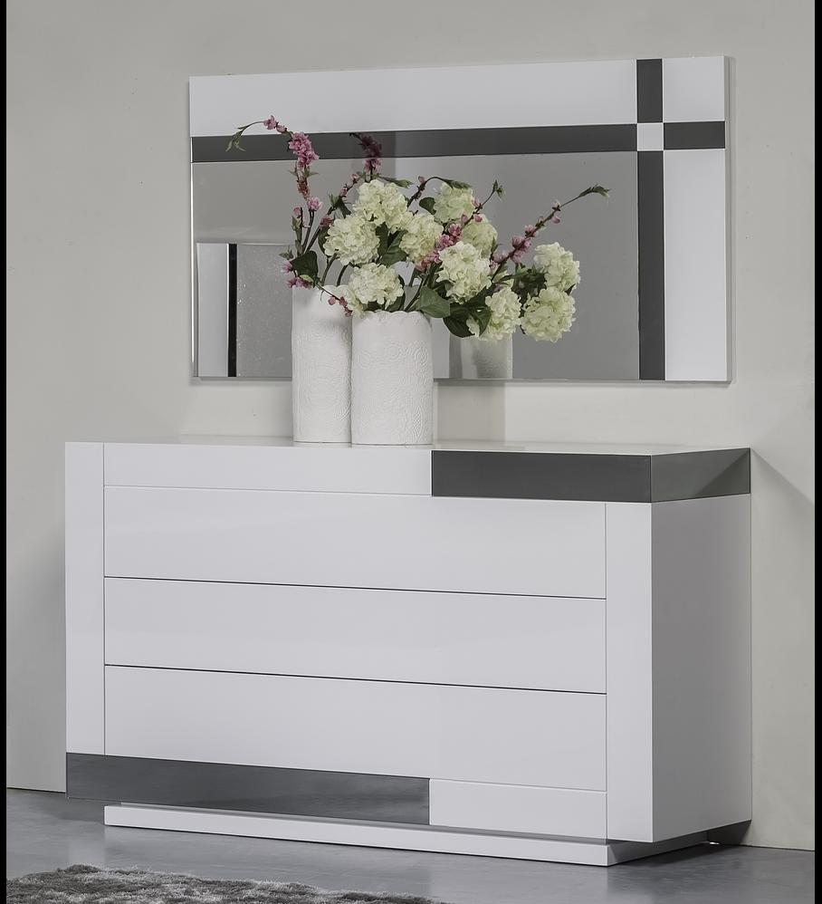 Cómoda Art Collection White Gloss con espejo Gris