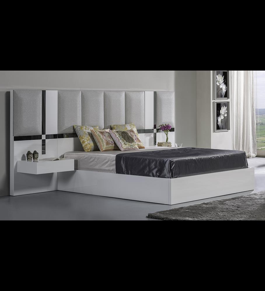 Art Collection Bed Bright White con espejo gris