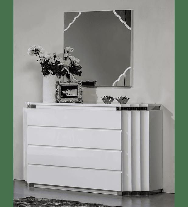 Cómoda Pop Collection Branco Brilho c/Inox