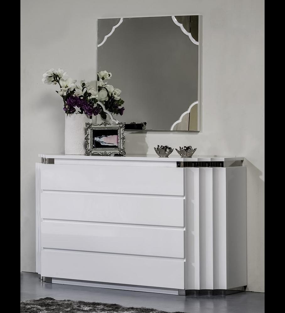 Cómoda Pop Collection Blanco brillante con acero inoxidable
