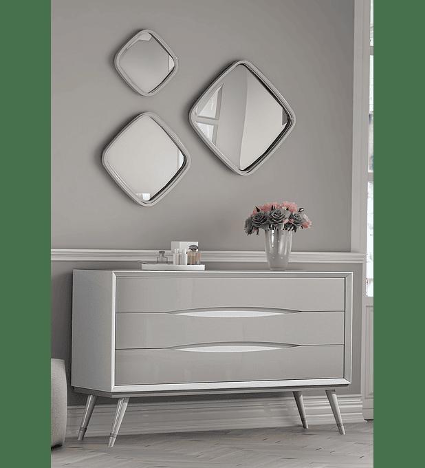 Cómoda Charlotte Collection Branco/Capuccino Brilho