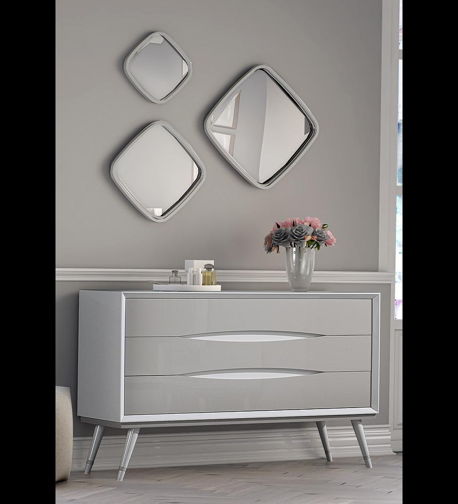 Cómoda Charlotte Collection Branco / Capuccino Brilho