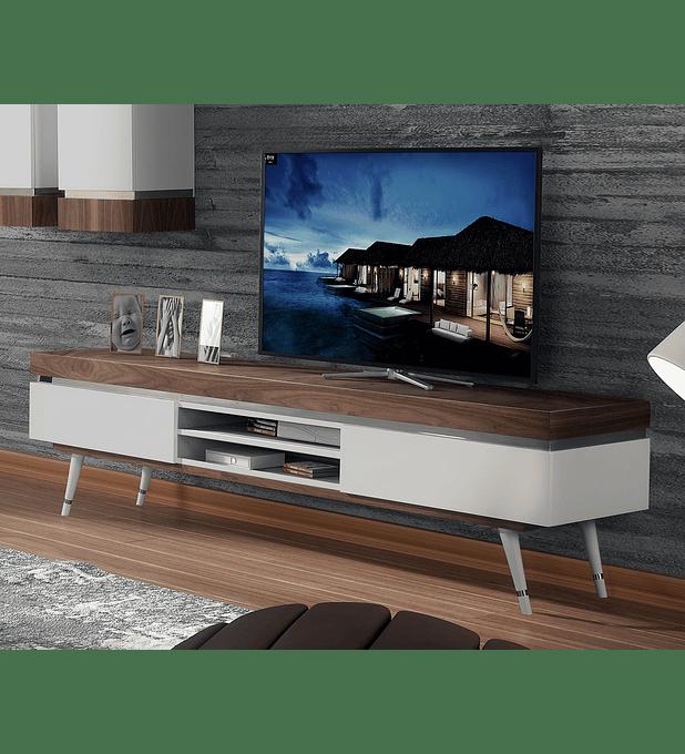 Mueble para TV Hessa Collection Blanco Brillo / Nogal con acero inoxidable