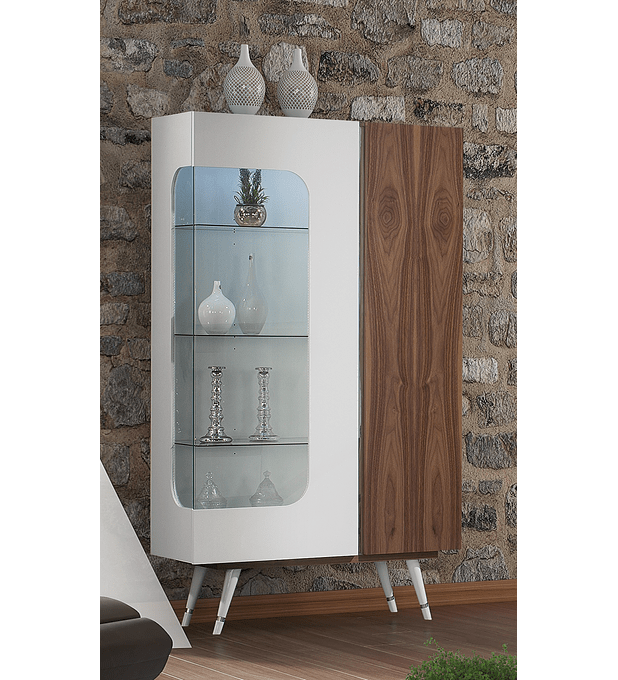 Colección Hessa Blanco Brillo / Nogal con acero inoxidable