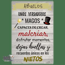"""Cuadro de Madera """"Abuelos, unos Magos"""""""
