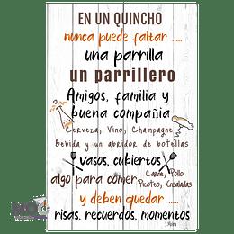 """Cuadro de Madera """"En un Quincho, No puede Faltar"""""""