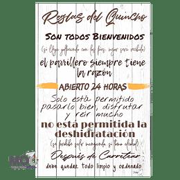 """Cuadro de Madera """"Reglas del Quincho 2020"""""""